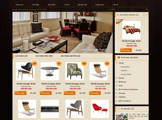 thiết kế web bán hàng đồ nội thất đẹp chuẩn SEO chuyên nghiệp