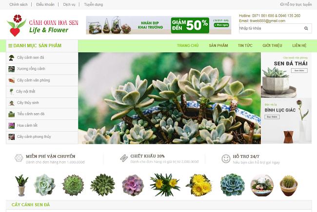 thiết kế web mua bán cây cảnh online chuyên nghiệp chuẩn Seo giá rẻ